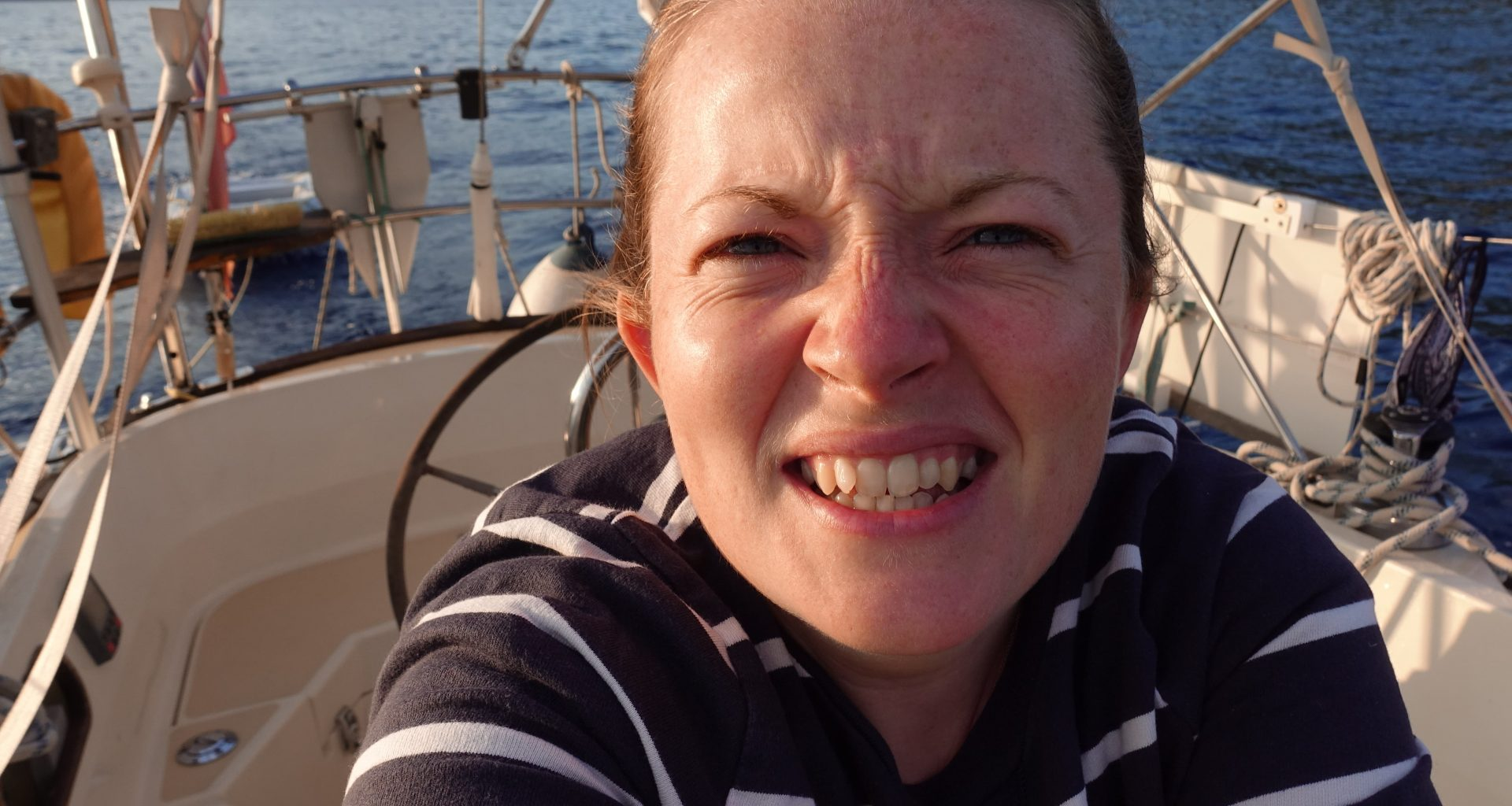 person on a sailing boat
