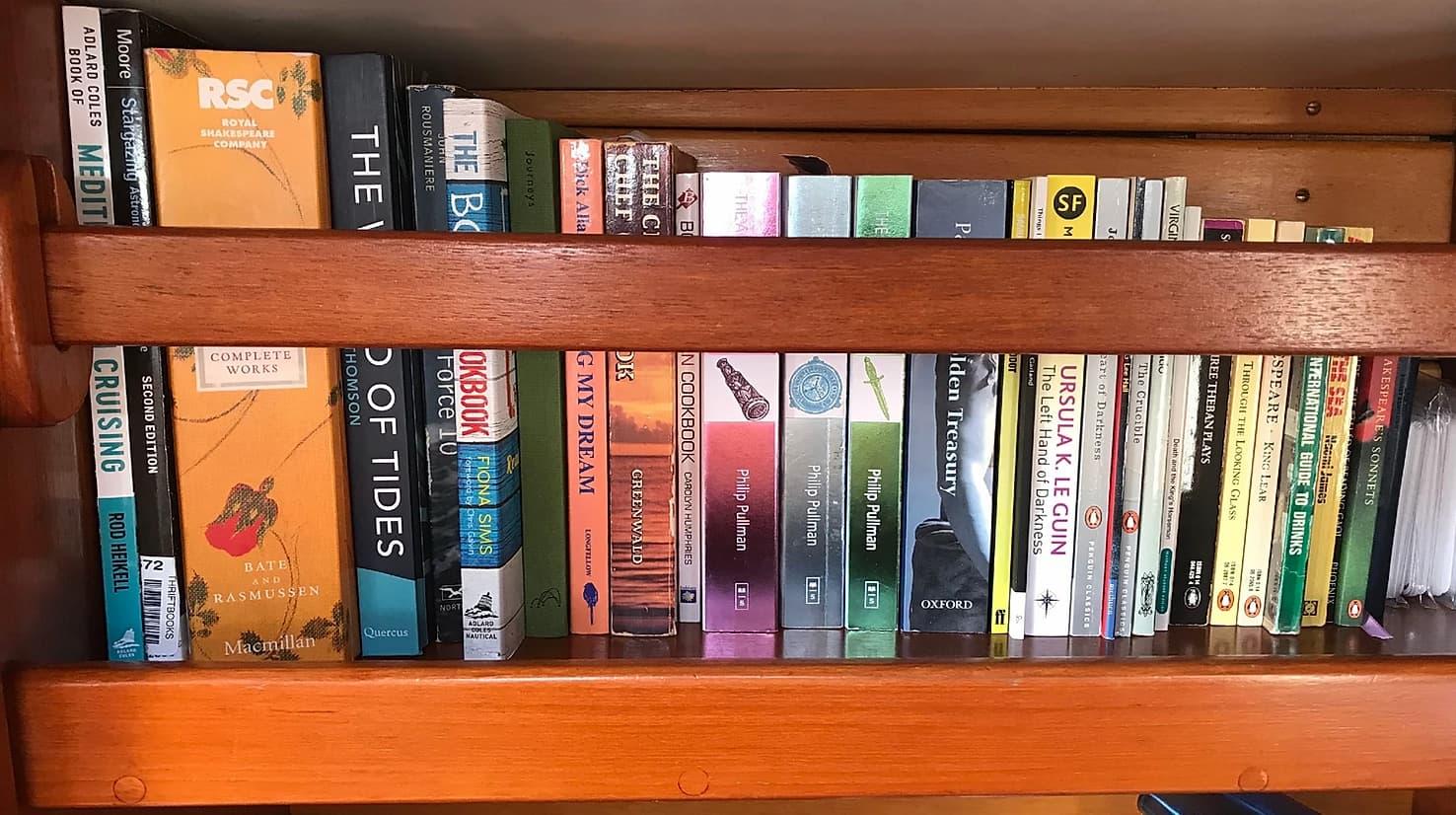 bookshelf in a sailing boat