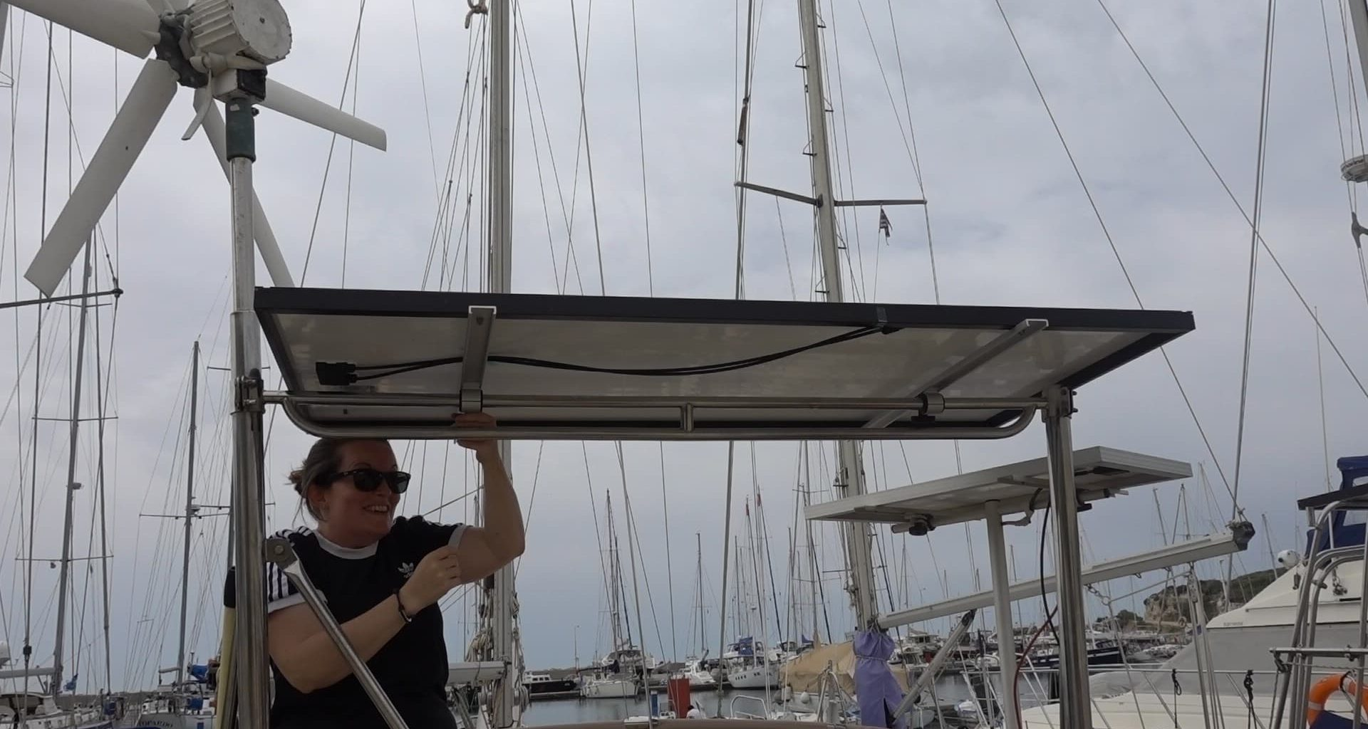 solar panel installation on a sailboat steel arch